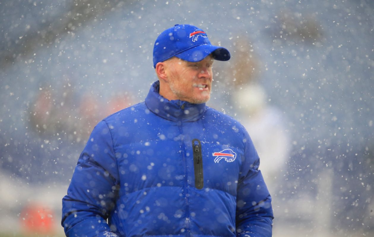 Bills head coach Sean McDermott stands in the snow during pregame prior to playing the Colts. (Harry Scull Jr./Buffalo News)