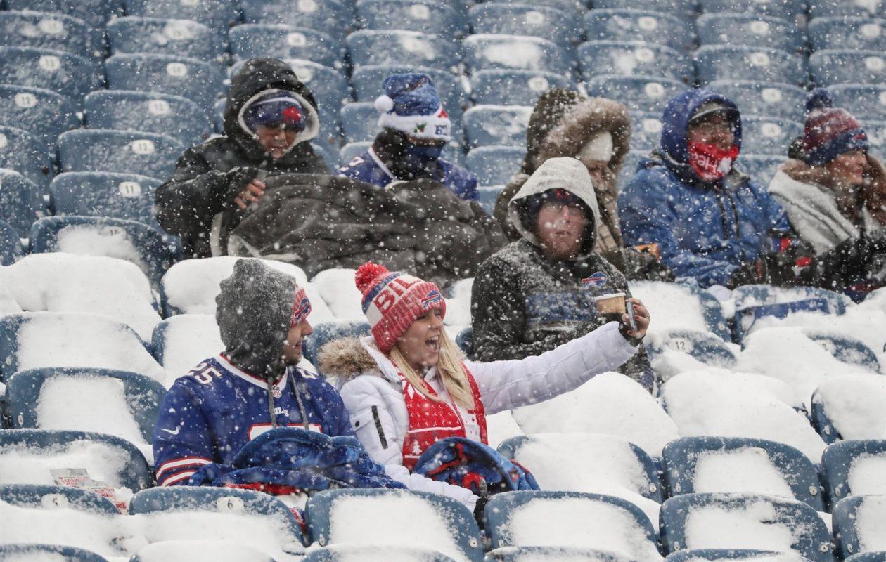 Bills fans take selfies in New Era Field on Dec. 10, 2017. (James P. McCoy/Buffalo News)