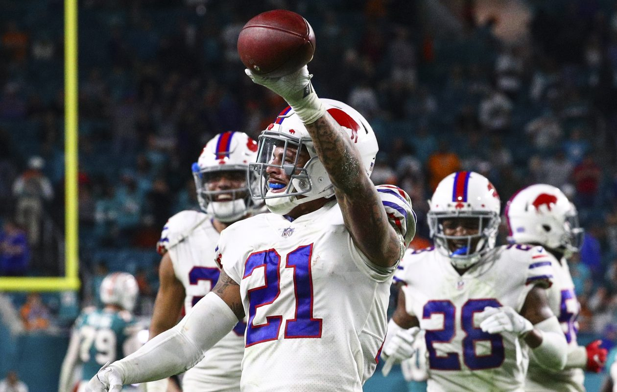 Buffalo Bills free safety Jordan Poyer (21) celebrates after intercepting Miami Dolphins quarterback David Fales (9) during the fourth quarter at Hard Rock Stadium in Miami Gardens, Florida on Sunday, Dec. 31, 2017.  (James P. McCoy / Buffalo News)