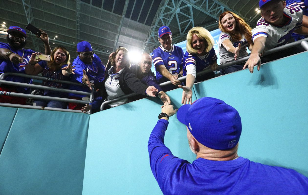 Buffalo Bills head coach Sean McDermott celebrates after beating the Miami Dolphins.  (James P. McCoy / Buffalo News)