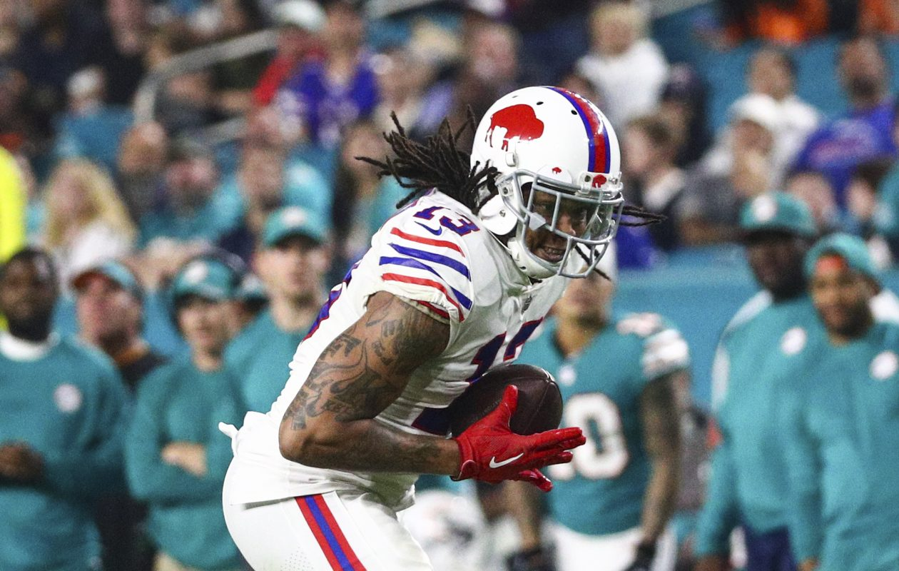 Buffalo Bills wide receiver Kelvin Benjamin (13) is tackled by Miami Dolphins cornerback Xavien Howard (25) after a catch in the third quarter (James P. McCoy / Buffalo News)