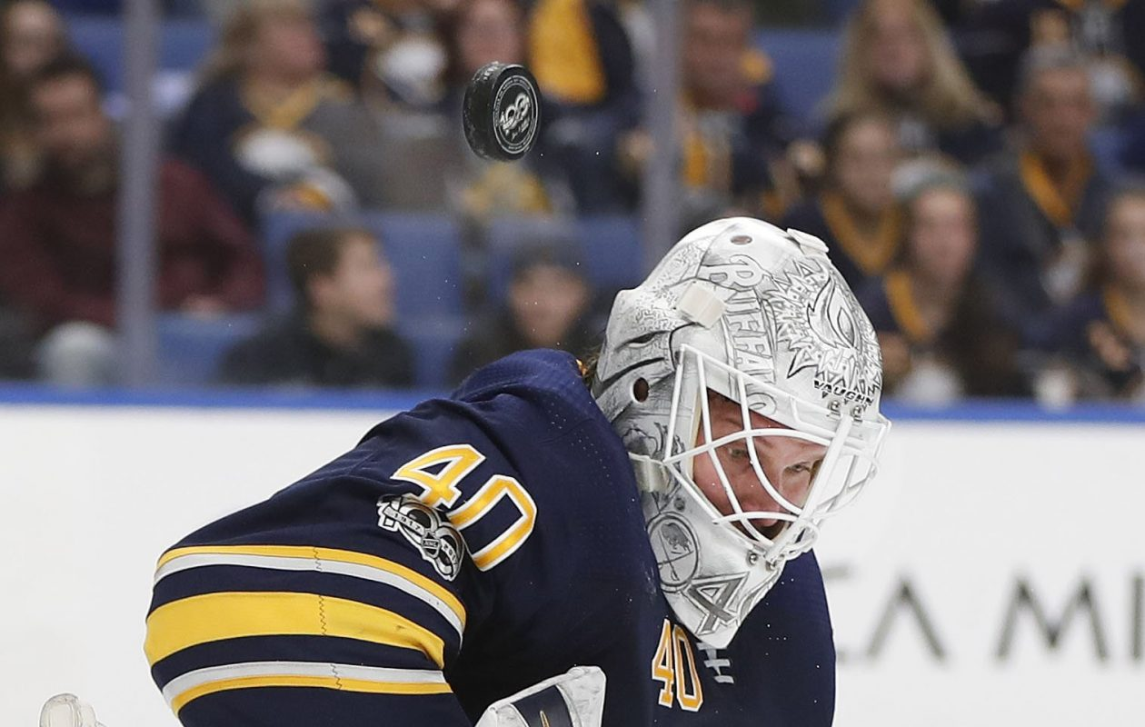 Sabres goaltender Robin Lehner is 1-2-2 with a .897 save percentage in six games against Pittsburgh. (Mark Mulville/Buffalo News)