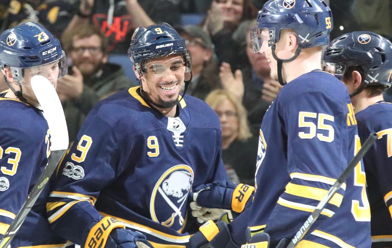 The Sabres' Evander Kane (9) and Rasmus Ristolainen (55) let the smiles loose after Kane's power-play goal Tuesday. (James P. McCoy/Buffalo News)