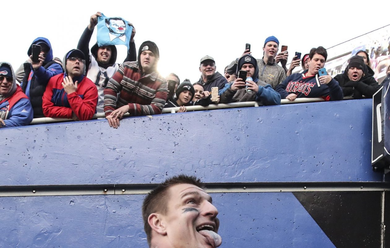 New England Patriots tight end Rob Gronkowski (87) antagonized the fans by waving his arms and sticking his tongue out as he walked into the tunnel at the end of the game at New Era Field on Sunday, Dec. 3, 2017. (James P. McCoy/Buffalo News)