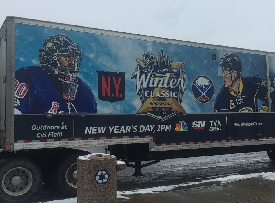 A truck housing Winter Classic ice-making equipment stopped at KeyBank Center on Friday. (Mike Harrington/Buffalo News)