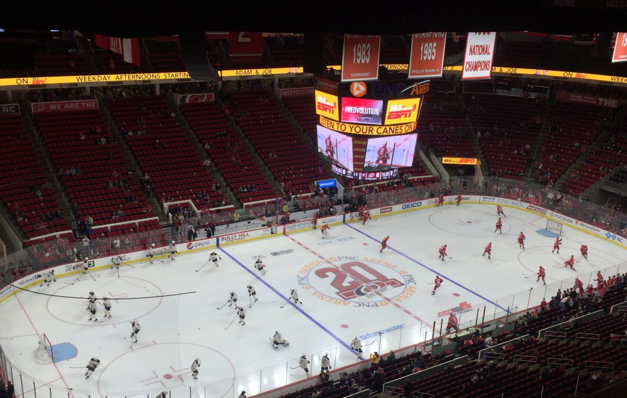 The Sabres and Hurricanes warm up before the game. (Mike Harrington/Buffalo News)