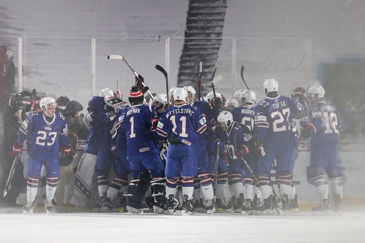 The U.S. celebrates its shootout victory. (James P. McCoy/Buffalo News)