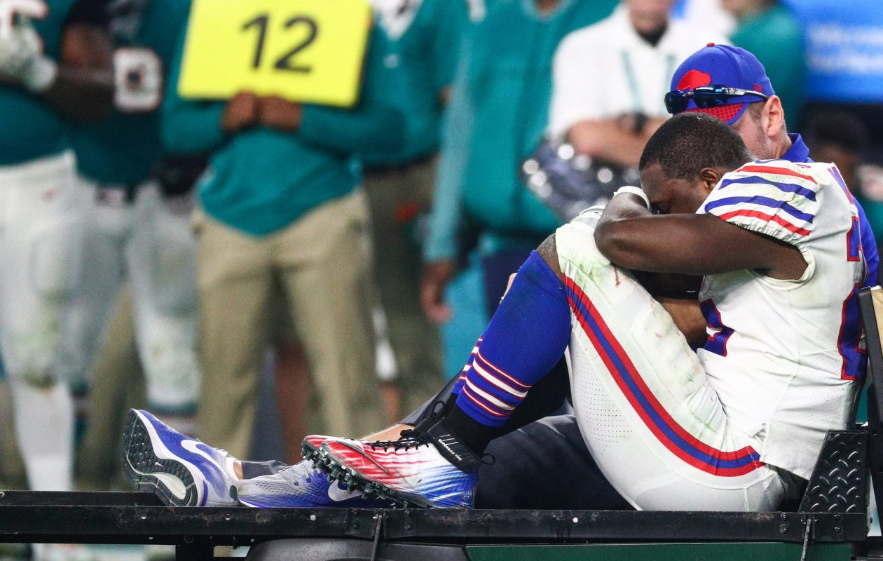 LeSean McCoy is carted off the field for the Bills after being hurt in the third quarter Sunday against the Miami Dolphins. (James P. McCoy/Buffalo News)