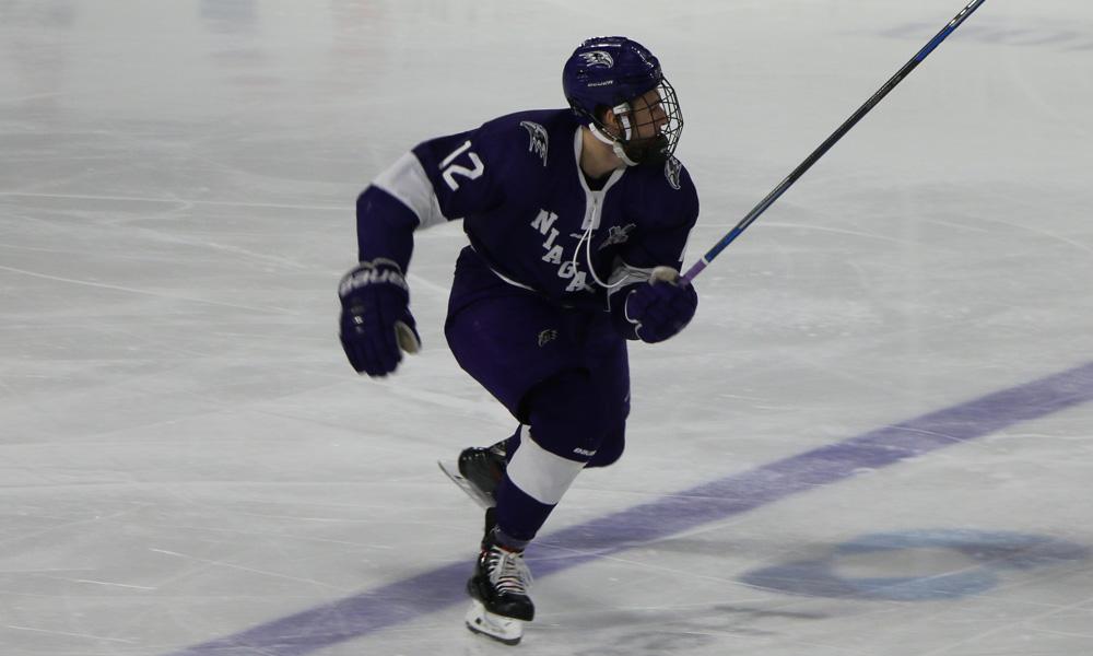 Nick Farmer scored two goals for Niagara against Air Force. (Niagara Athletic Communications)