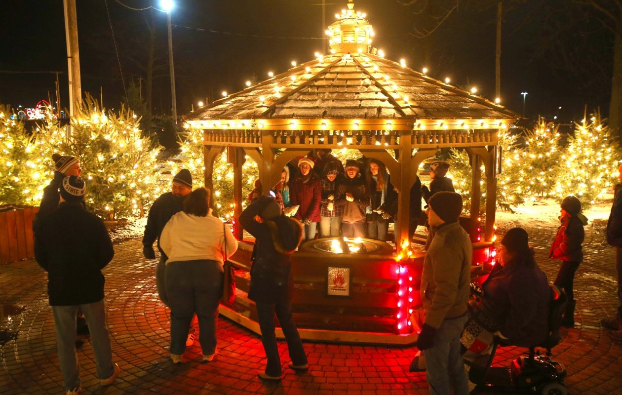 A decorated gazebo and a fire pit add festive spirit to the Fairgrounds' Festival of Lights, pictured in 2012. (Robert Kirkham/News file photo)