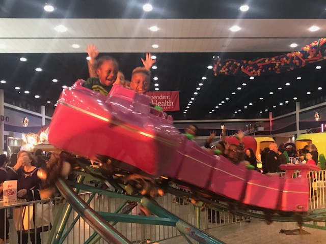 A mini-roller coaster was part of the fun at First Night in Buffalo Sunday.