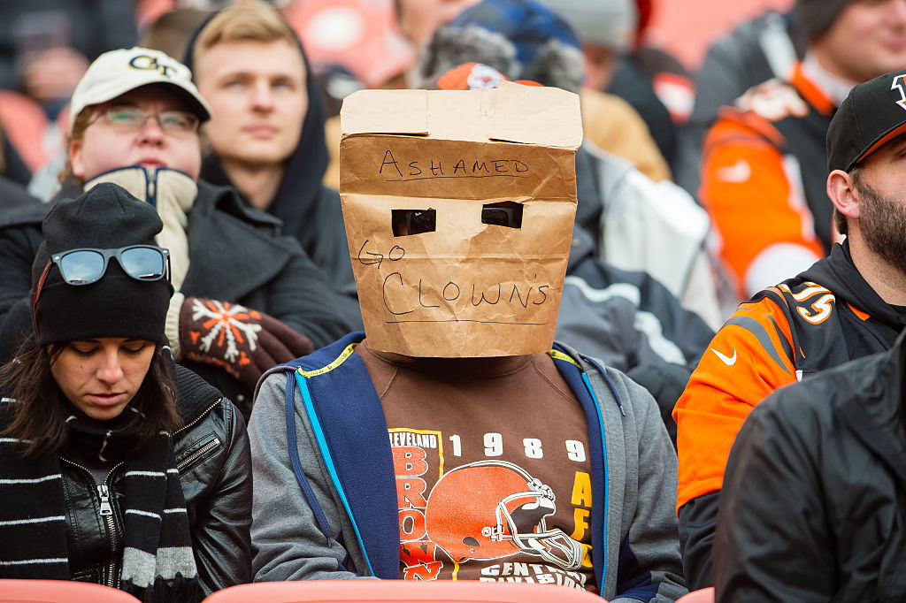 A Cleveland Browns fan expresses disappointment with the team during the second half against the Cincinnati Bengals at FirstEnergy Stadium on Dec. 6, 2015, in Cleveland, Ohio.  (Jason Miller/Getty Images file photo)