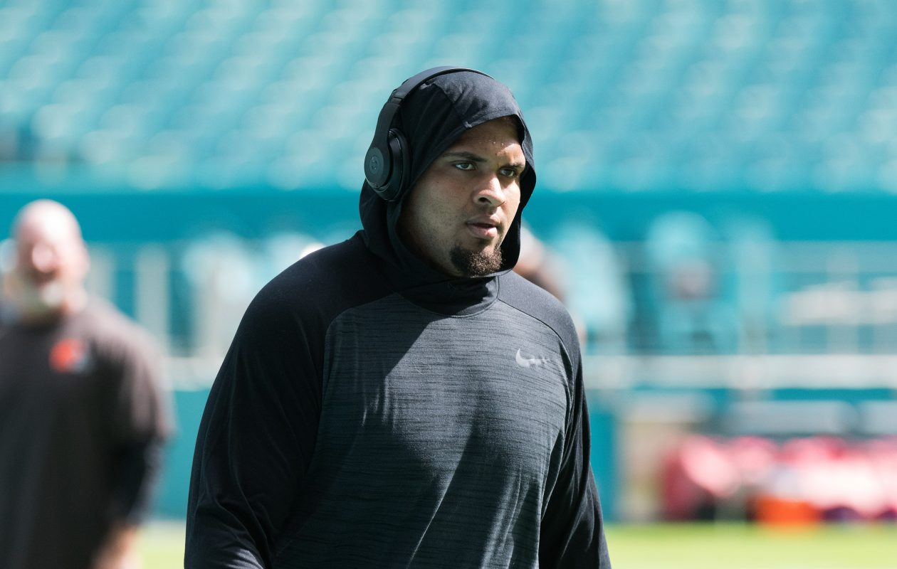 Mike Pouncey of the Miami Dolphins is dealing with a hip injury. (Getty Images)