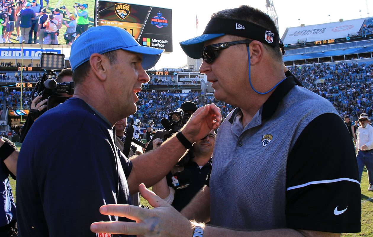 Doug Marrone, right, has gratefully embraced his second chance as an NFL coach. (Rob Foldy/Getty Images)