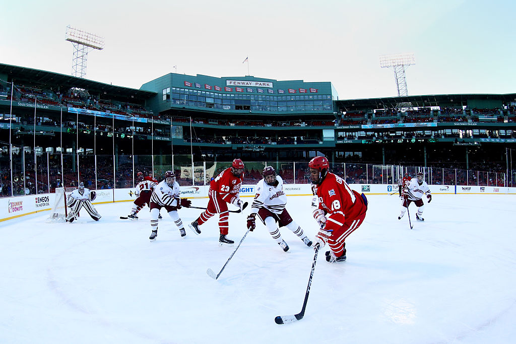 Boston University and the University of Massachusetts met at Fenway Park in January, (Getty Images)