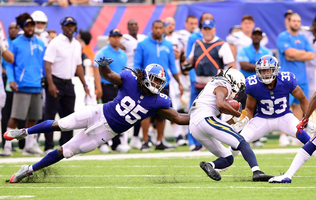 New Bills defensive end Cap Capi (95) played in four games earlier this season with the New York Giants. (Getty Images file photo)