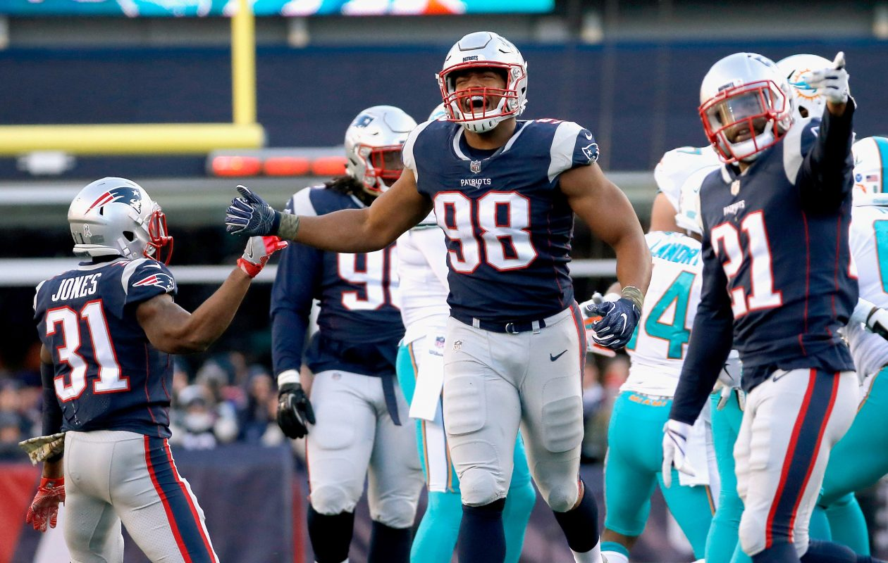 Trey Flowers of the New England Patriots will not play Sunday against the Bills. (Getty Images)