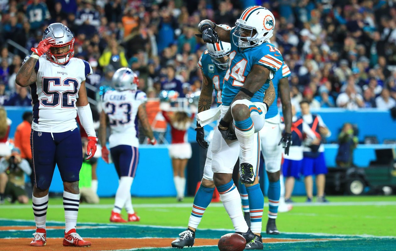 Jarvis Landry of the Miami Dolphins celebrates after scoring a touchdown  (Photo: Chris Trotman/Getty Images)