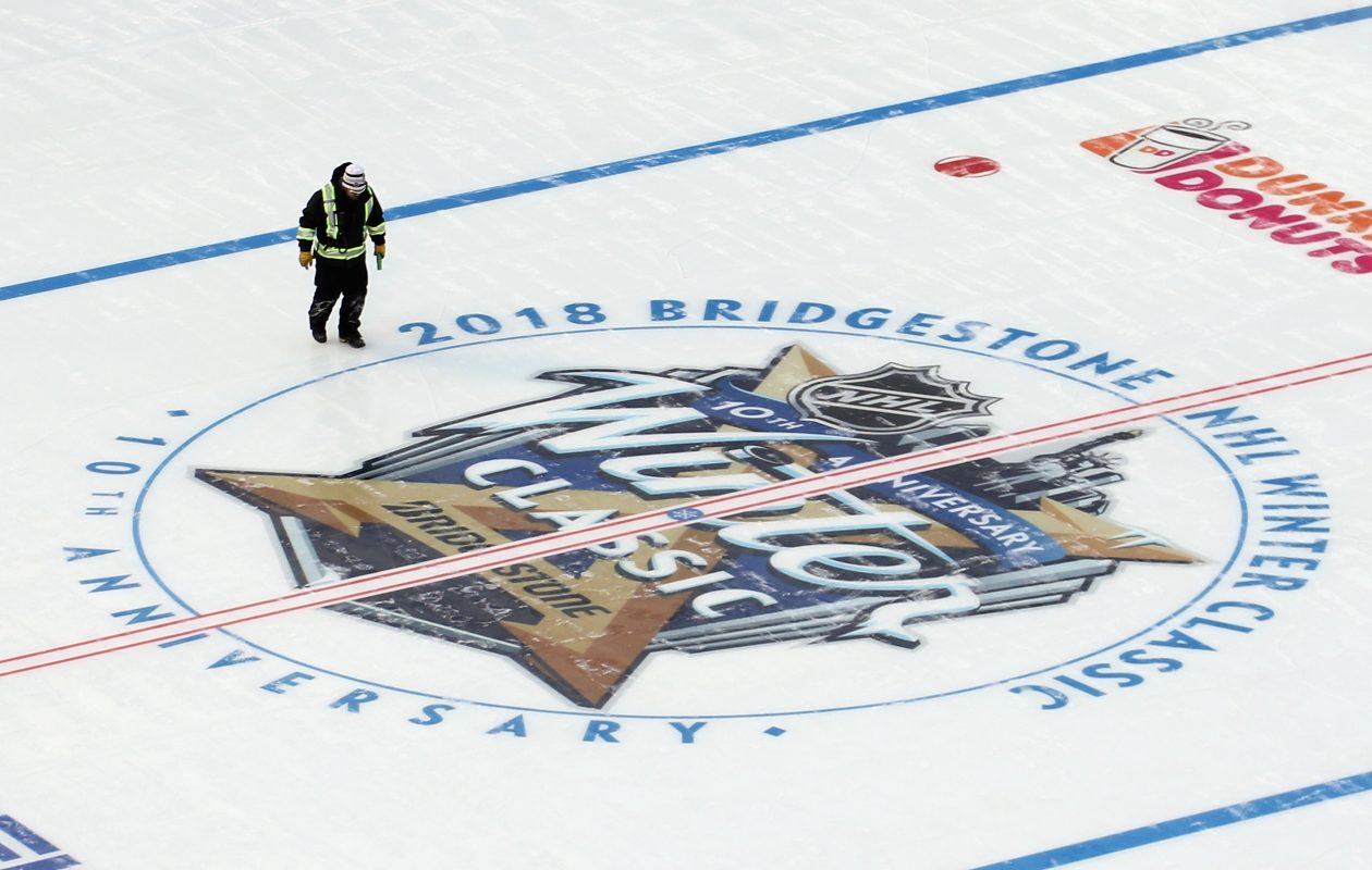 The rink is ready in Citi Field. (Getty Images)