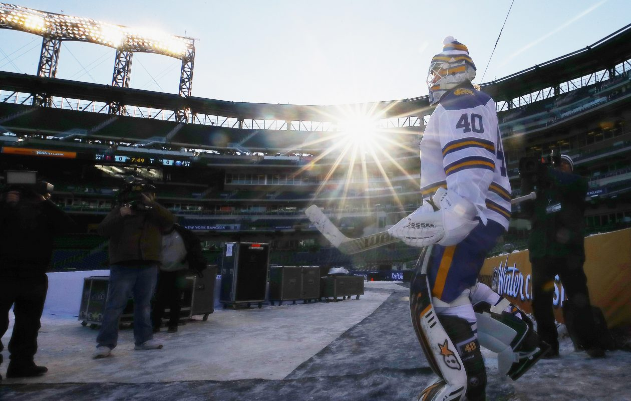 Robin Lehner had a little trouble with the sun, but the Sabres goaltender enjoyed Sunday's outdoor practice in Citi Field. (Getty Images)