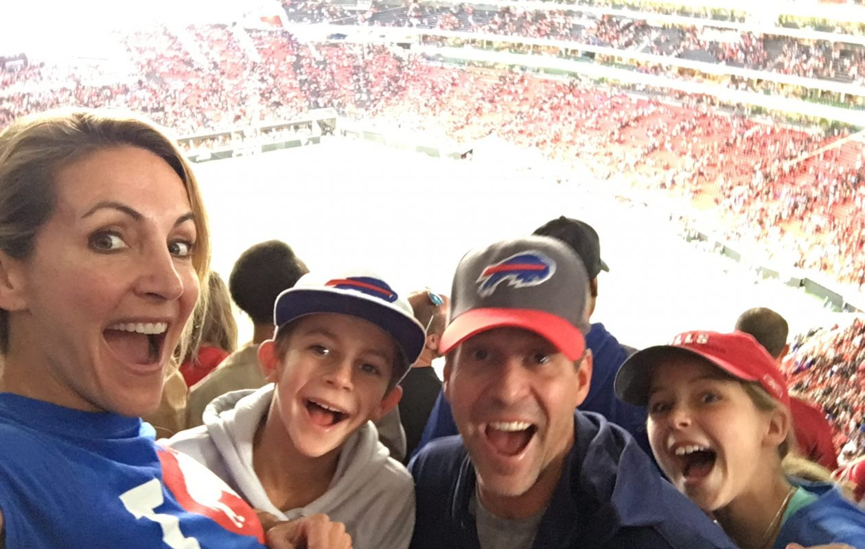 Summer Sanders and her family at the Bills game against the Atlanta Falcons. (Photo courtesy of Summer Sanders)