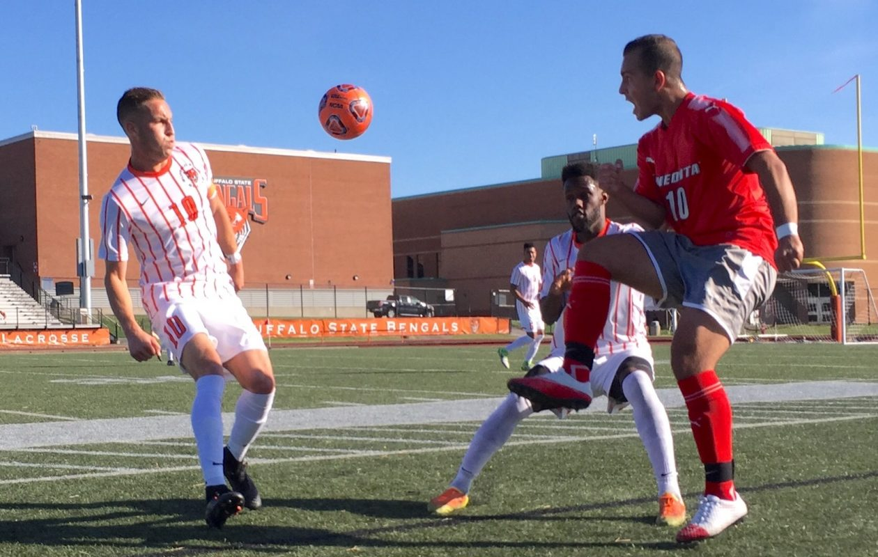 Luke Pavone, left, was named a Division III All-American, while teammate Devonte Black, middle, earned first team all-region. (Ben Tsujimoto/News file photo)