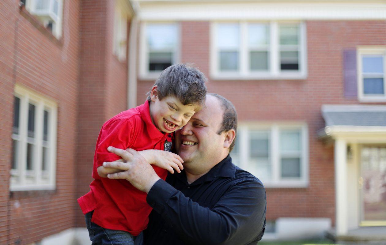 Jorge Suarez Ronda, who fled Cuba to Buffalo, with his son Diego. (Mark Mulville/The Buffalo News)
