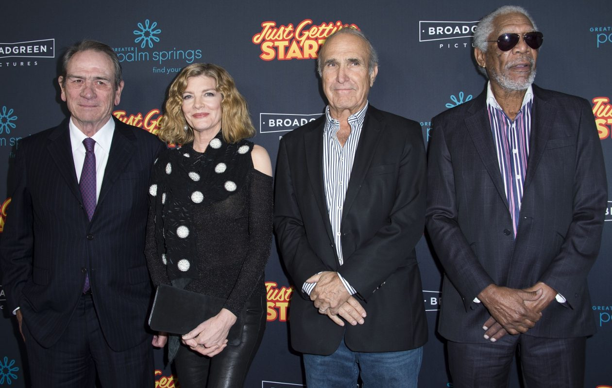 (L-R) Actors Tommy Lee Jones, Rene Rousso, director Ron Shelton and actor Morgan Freeman attend the Premiere of 'Just Getting Started' on Dec. 7 in Hollywood. (AFP Photo/Valeie Macon)