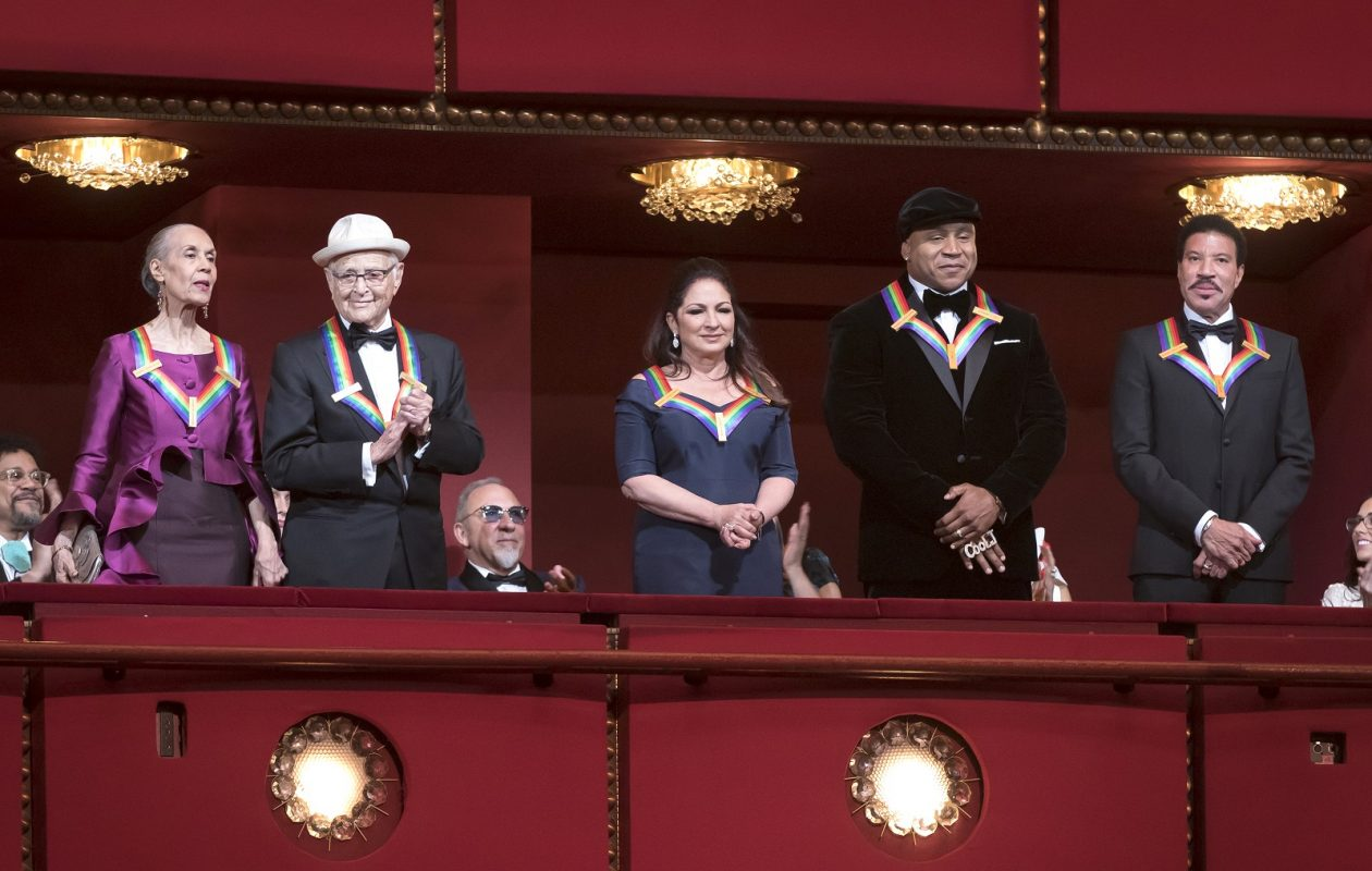 The 2017 Kennedy Center Honors recipients are introduced to the full house at the Kennedy Center Opera House during the Honors Gala Performance on Sunday. From left to right: Carmen de Lavallade, Norman Lear, Gloria Estefan, LL Cool J, Lionel Richie. (Scott Suchman courtesy of The Kennedy Center)