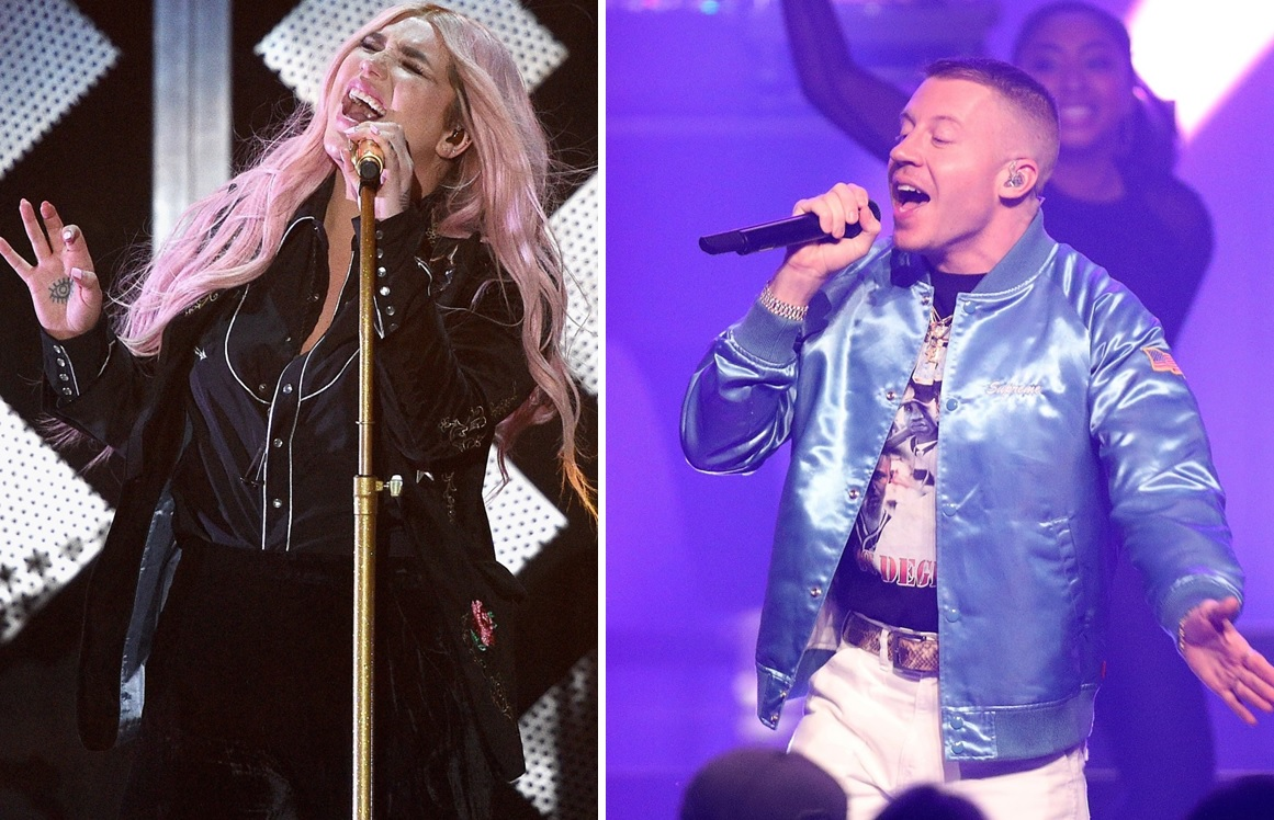 After a rousing performance at Kissmas Bash, Kesha has booked a return to the area in July. Joining her is rapper Macklemore, right. (Getty Images)