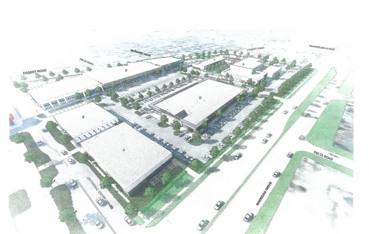 A rendering of the future view of the Northtown Plaza site, once the planned six retail buildings are constructed. (Provided by WS Development)