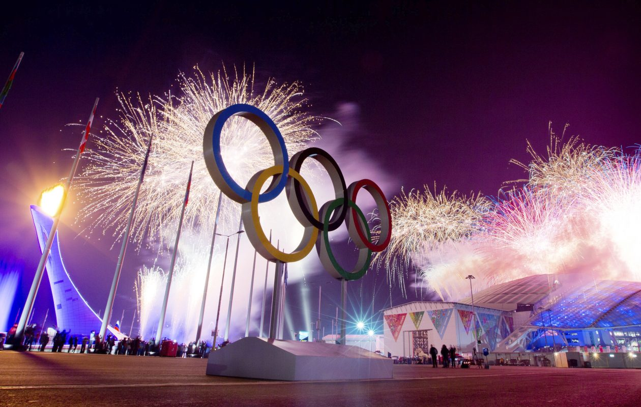 Fireworks beside the Olympic rings commemorate the start of the 2014 Olympic Winter Games outside Fisht Olympic Stadium in Sochi, Russia, Feb. 7, 2014. Now at the end of 2017 – months before the start of the 2018 Winter Olympics and Paralympics – the International Olympic Committee bars Russia from the games for conducting an elaborate doping program at the Sochi Games. (Josh Haner/New York Times)