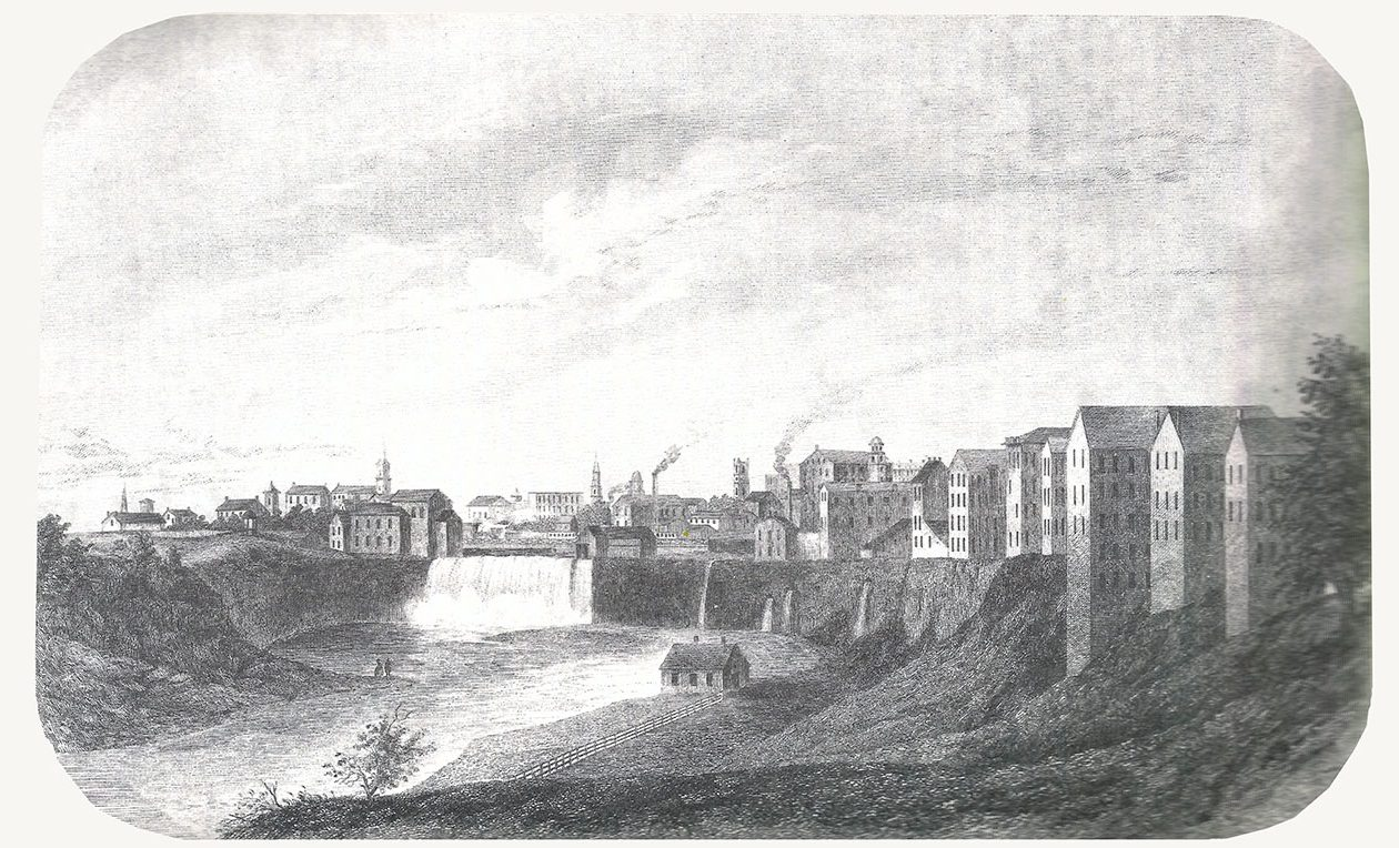 "A drawing of the Genesee Falls in Rochester, from the 1860 book ""Historical and Statistical Gazetteer of New York State."""