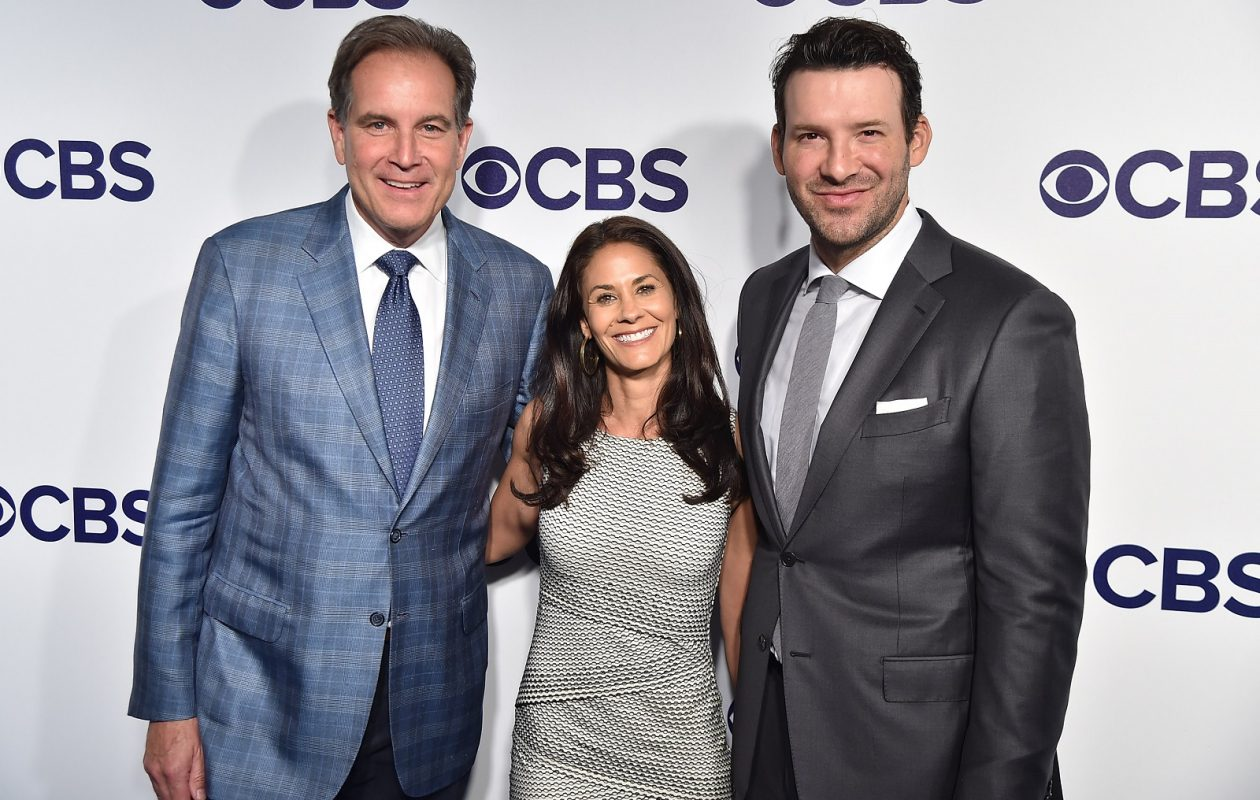 CBS' top football broadcast crew — Jim Nantz, Tracy Wolfson and Tony Romo, left to right — will call the Bills game on Sunday. (Theo Wargo/Getty Images)