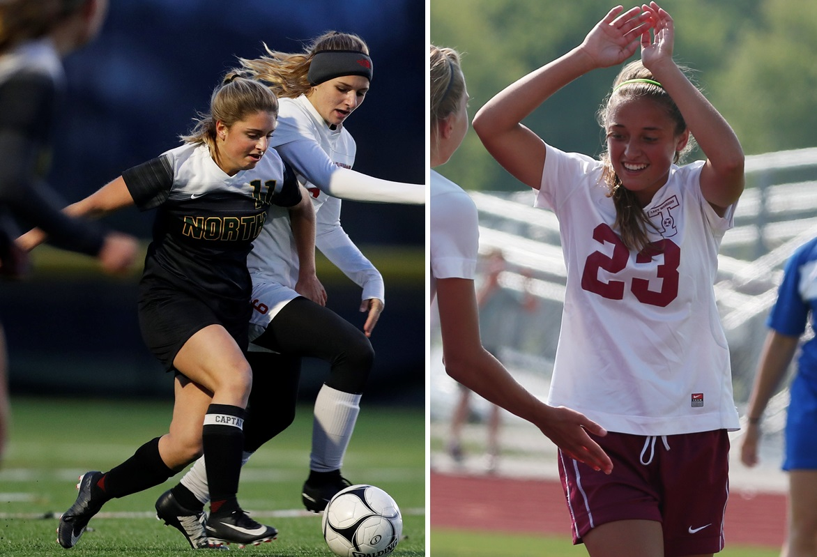 Williamsville North's Samantha Diamond, left in dark, will lead Blue against Red, led by Hope Balling, right, in the return of the Exceptional Seniors Game for girls soccer. (News file photos)