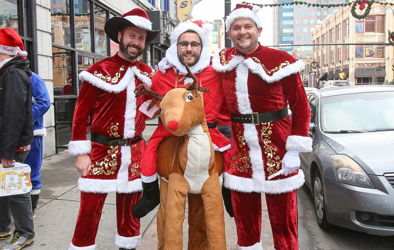 Santas – and even Santas on reindeer – are the focus of SantaCon Buffalo. (Meredith Forrest Kulwicki/Special to The News)