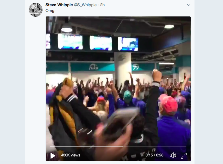 A video posted by Steve Whipple shows Bills fans reacting to the Bengals' touchdown.