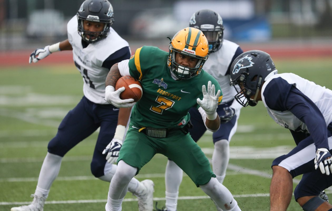 Tyree Brown ran five times for 23 yards and a touchdown in Brockport's victory against Delaware State. (Brockport Athletics)