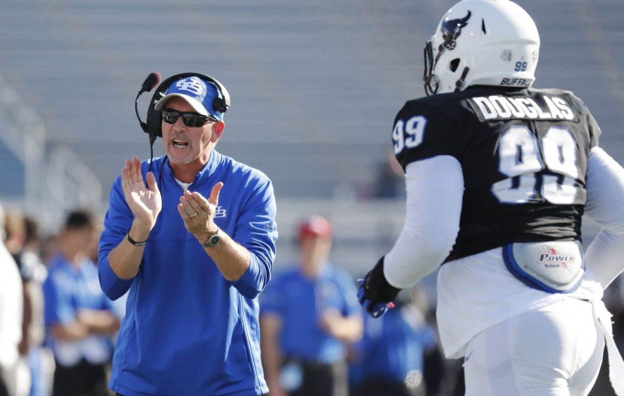 UB football head coach Lance Leipold watches his team at practice. (Harry Scull Jr./News file photo)