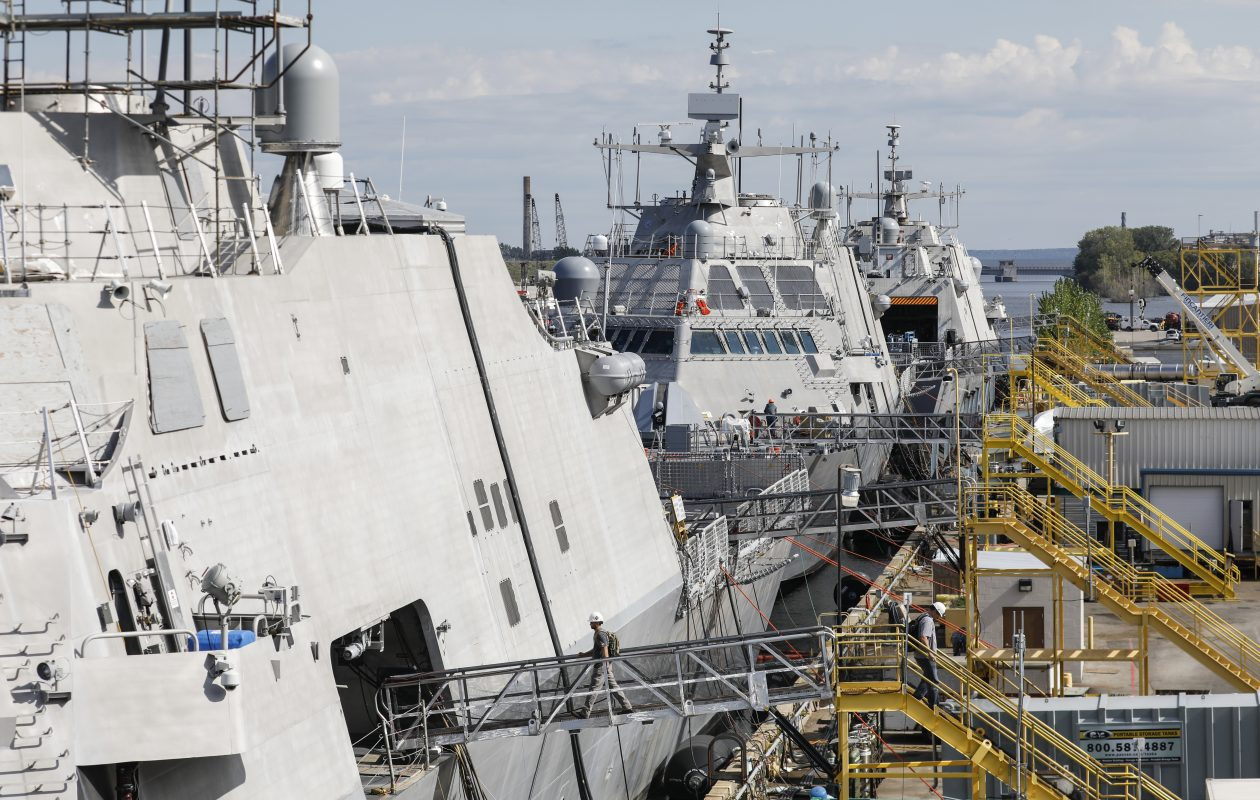 Littoral combat ships in various phases of construction at the Marinette Marine shipyard in Marinette, Wisc., on Sept. 28. (Derek Gee/Buffalo News)