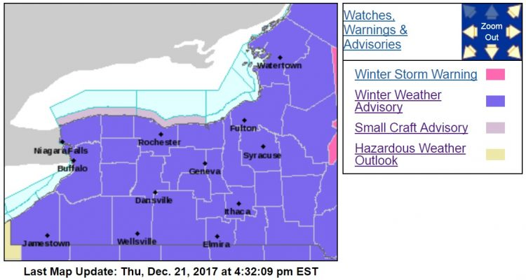 A winter weather advisory goes into effect at 10 p.m. for most of upstate New York. (NWS Buffalo)