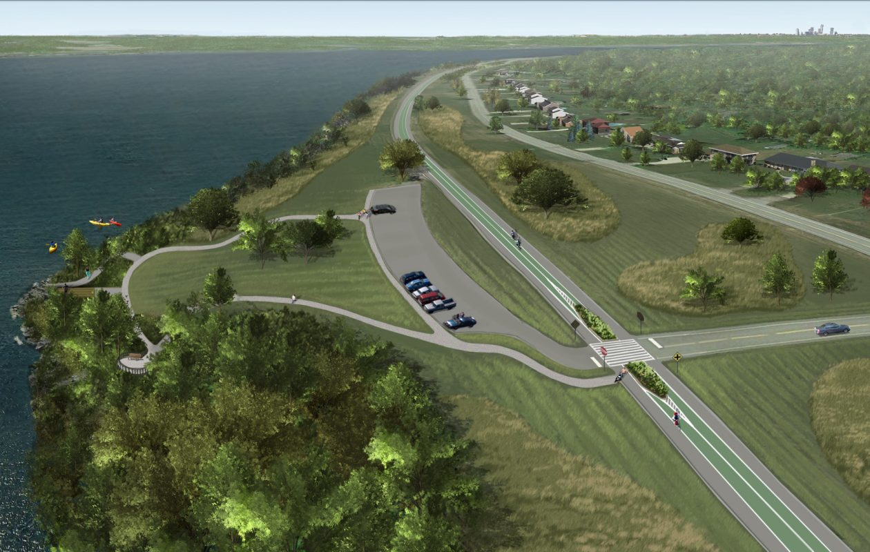 A rendering of what West River Parkway on Grand Island is expected to look like after New York State closes the road to vehicle traffic and converts it into an 8-mile long trail for bicyclists and pedestrians. (Courtesy New York State Office of Parks, Recreation and Historic Preservation).
