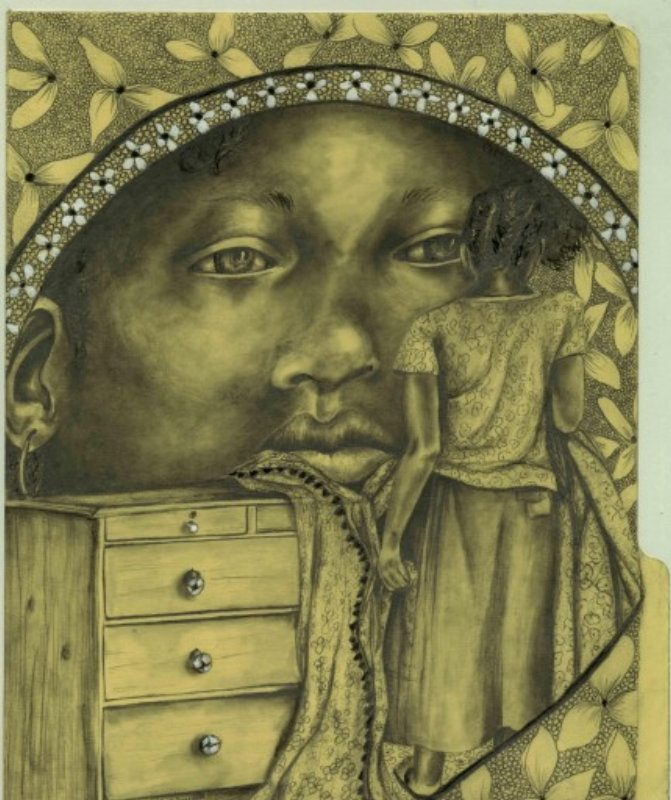 'Past Tears,' an undated drawing by Iris Kirkwood, is on view in 'Images (Of Us By Us)' in the Burchfield Penney Art Center.