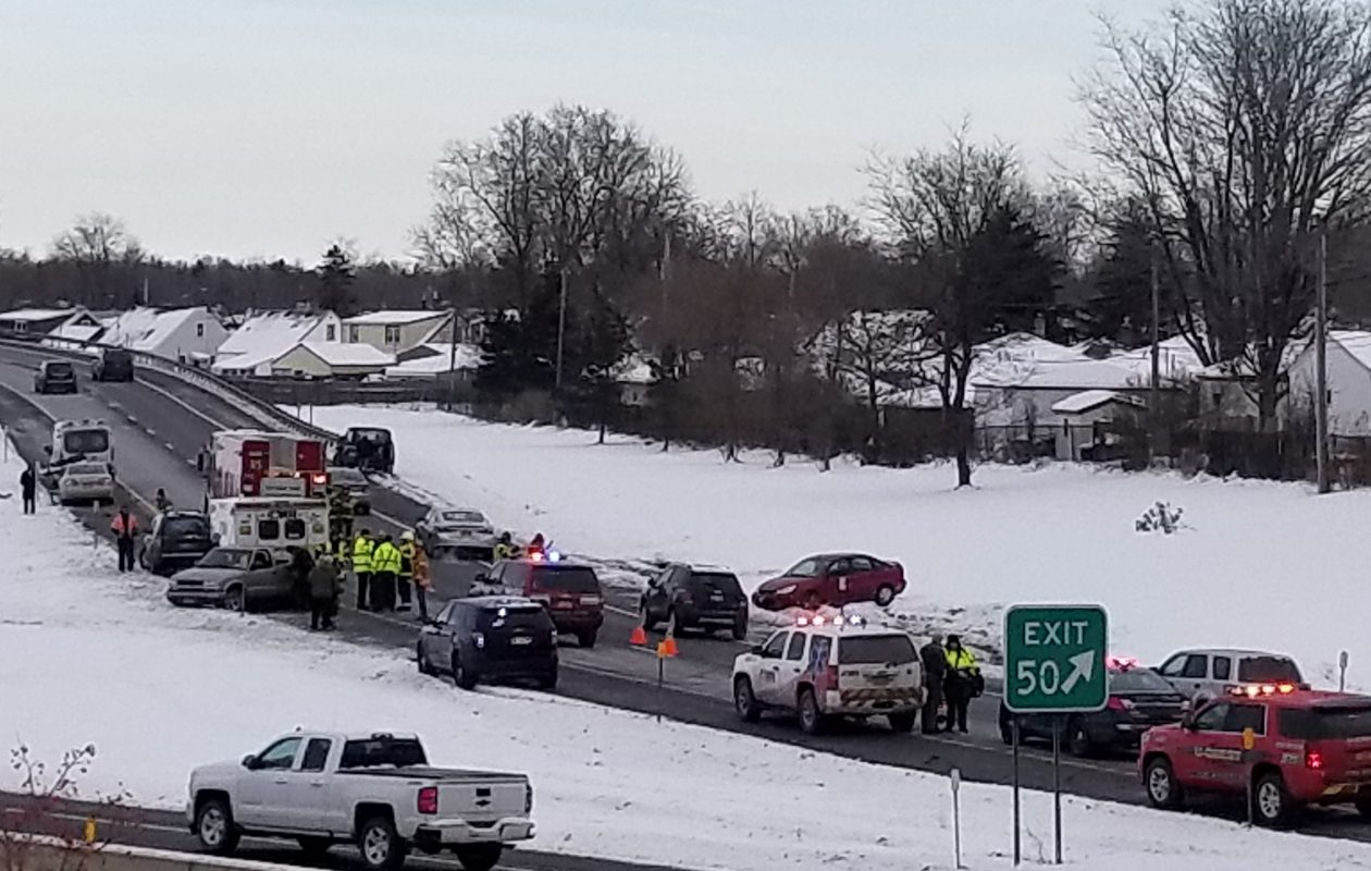 The scene of Sunday morning accident on the 90 East exit ramp to the 290 westbound. (David David F. Kazmierczak /Special to the News)