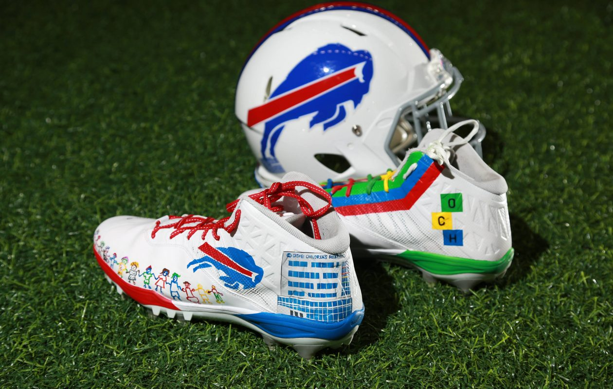 Rookie left tackle Dion Dawkins will wear these cleats, which were designed by patients at the John R. Oishei Children's Hospital, during Sunday's game against the Patriots. (Photo courtesy of Bill Wippert/Buffalo Bills).
