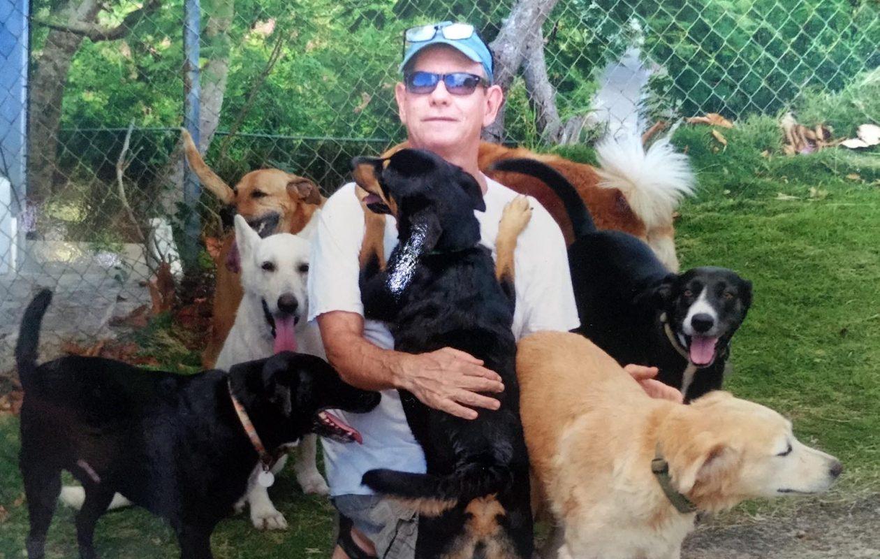 David Donovan, in Vieques, Puerto Rico, with his rescue dogs. (Image courtesy David Donovan)