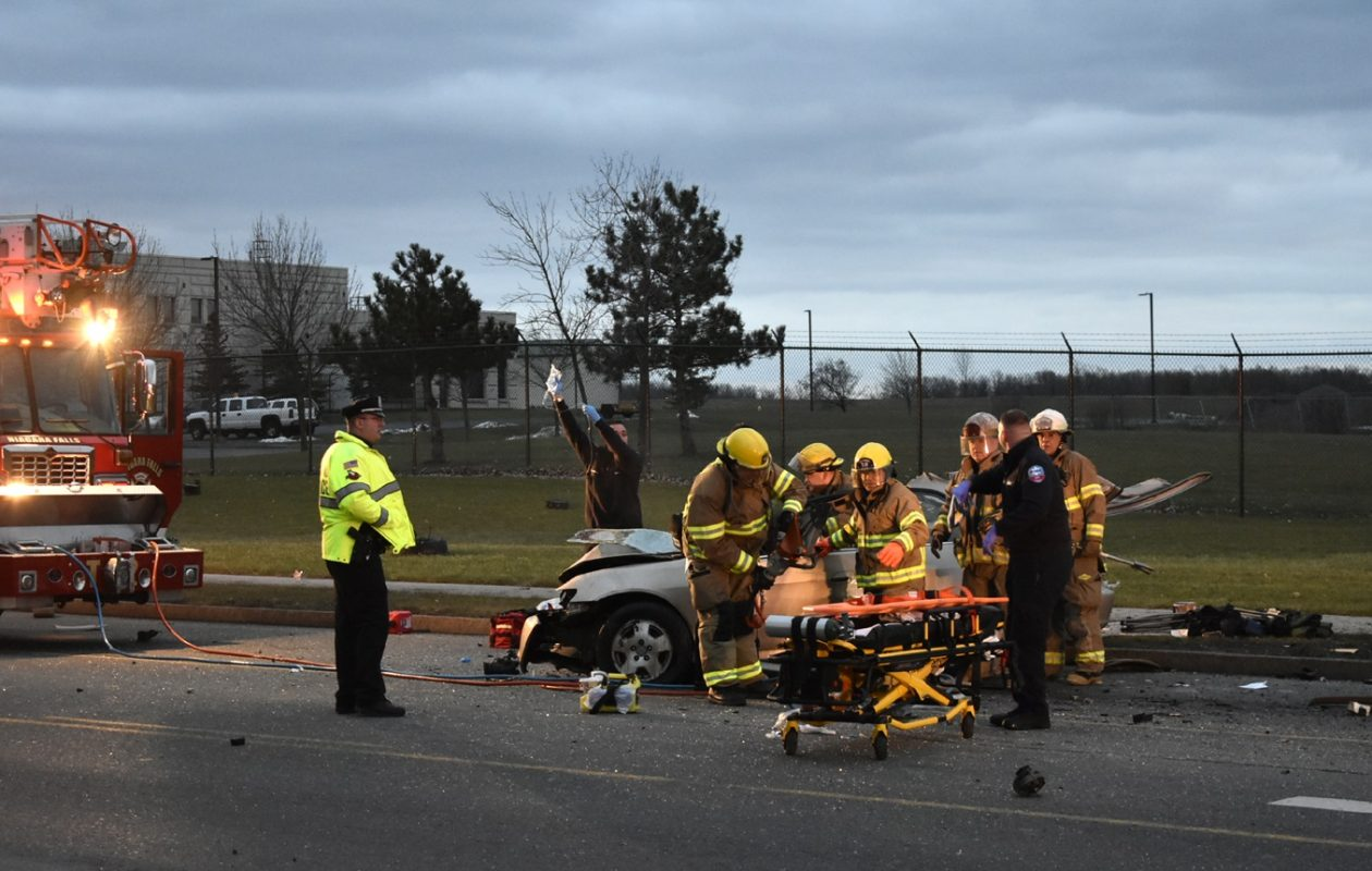 A Buffalo man died after he crashed near 56th Street and Buffalo Avenue after being pursued by a border patrol agent and a State Parks Police officer.  (Larry Kensinger/Special to the News)