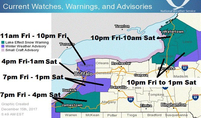 The Niagara Frontier is under a winter weather advisory. Lake-effect snow warnings go into effect in the Southern Tier this evening. (National Weather Service)