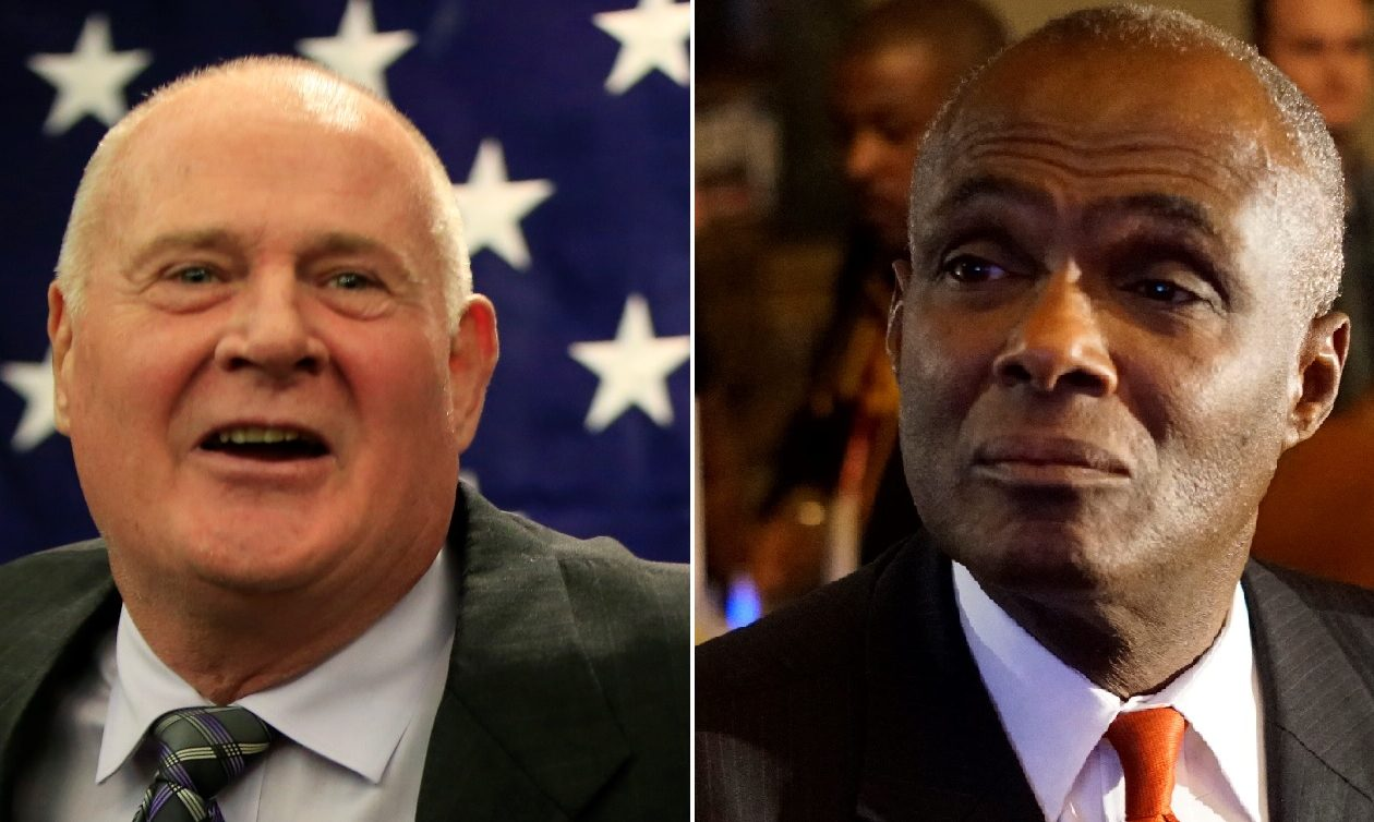 Incumbent Republican Erie County Sheriff Timothy Howard, left, spent $375,000 to defeat Democrat Bernie Tolbert, who spent about $170,000. (News file photos)