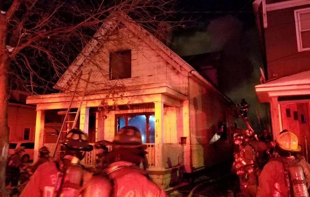 Firefighters battle a blaze at 43 Jones St. early Wednesday morning. (David F. Kazmierczak/Special to the News)